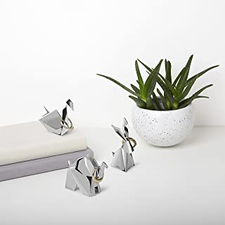 Umbra Origami Ring Holder (3-Pack), Rabbit, Swan and Elephant Metal Ring Storage and Display for Jewelry, Chrome