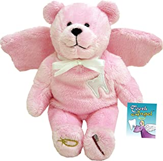 Inspire Nation Tooth Fairy Angel Bear for Girls Stuffed Plush 9 inches with Prayer Tag