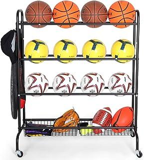 قفسه بسکتبال EXTCCT ، سبد ذخیره سازی توپ ورزشی ، پایه نگهدارنده چهار لایه برای توپهای توپ فوتبال والیبال ، سبد خرید توپ با فشار دستی با چرخ برای سازمان دهنده گاراژ ذخیره سازی گاراژ