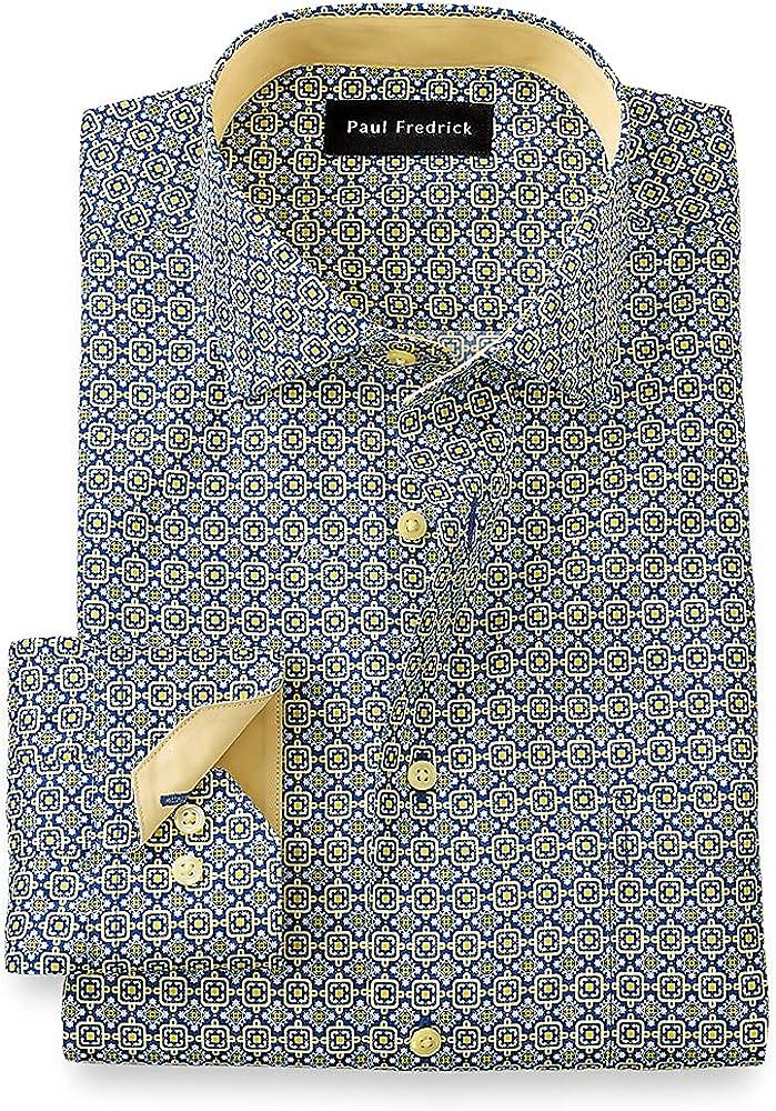 Paul Fredrick Men's Slim Fit Non-Iron Cotton Medallion Dress Shirt