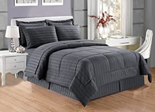 Grand Linen 8 Piece Luxury Grey Dobby Stripe Bed in A Bag Reversible Goose Down Alternative Comforter Set, Full Size with Matching Sheet Set, Hypoallergenic, Siliconized Fiberfill, Box Stitched