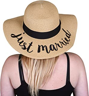 Women's Bold Cursive Embroidered Adjustable Beach Floppy Sun Hat