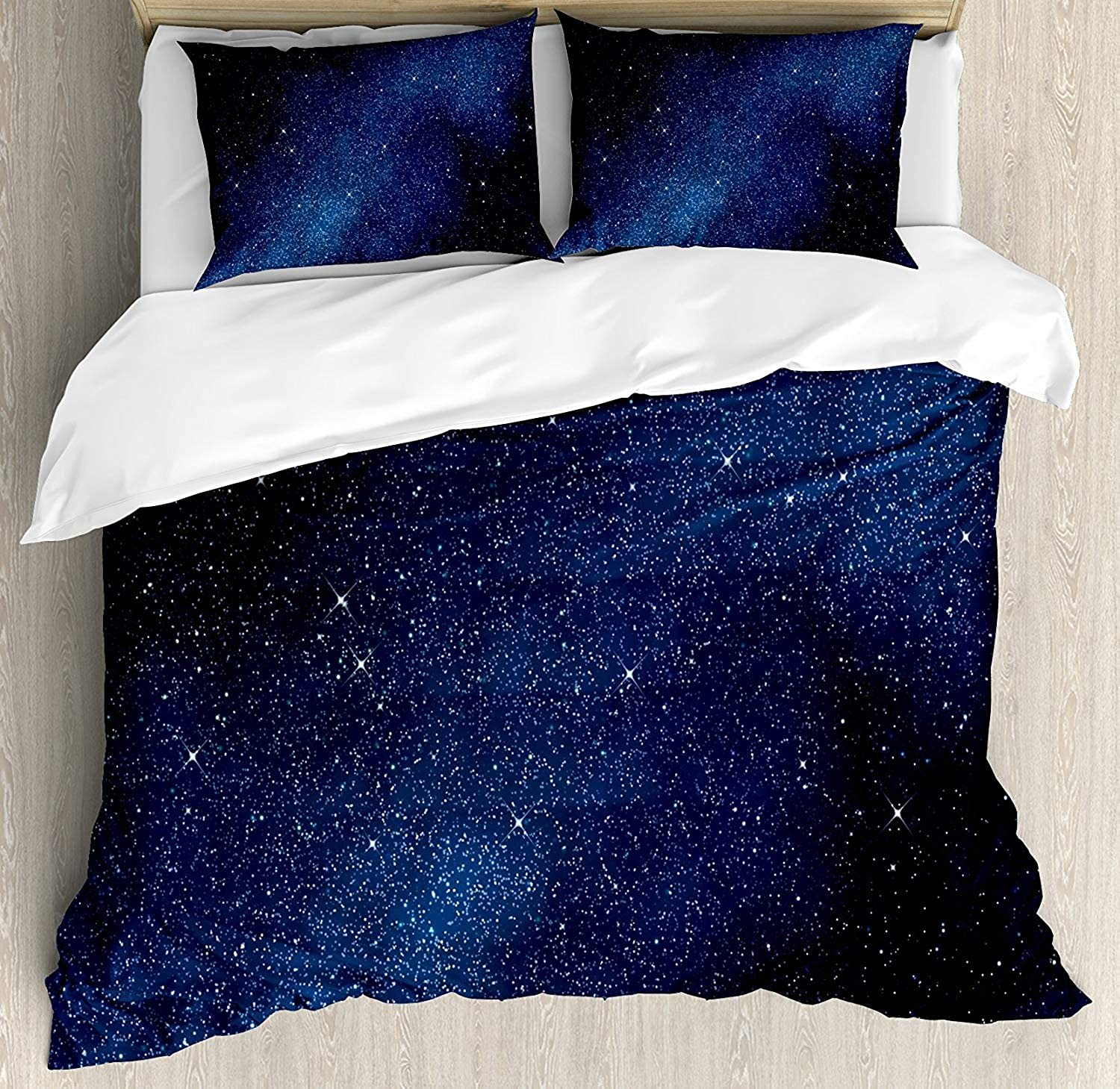 Fantasy Star 130 Night Duvet Cover Set, Space with Billion Stars Inspiring View Nebula Galaxy Cosmos Infinite Universe, Include 1 Flat Sheet 1 Duvet Cover and 2 Pillow Cases, Dark bluee White