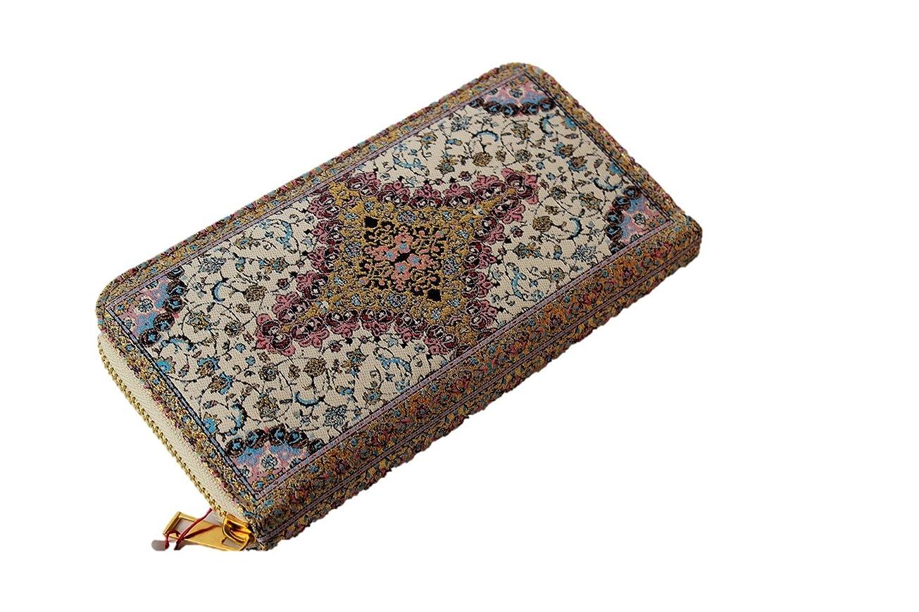 年ヒップ運命的な絨毯をモチーフにした刺繍の美しいファスナー付き長財布
