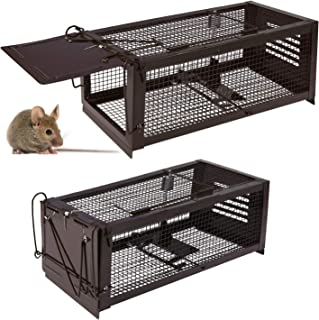 RatzFatz Mouse Traps, Small Animal Humane Live Cage, Traps for Mice, Rats, Chipmunks, Squirrels, Hamsters and Other Rodents, Pedal Design (Pack of 2)