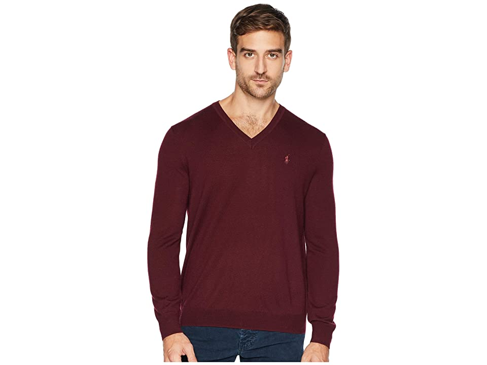 Polo Ralph Lauren Washable Merino V-Neck Sweater (Classic Wine) Men