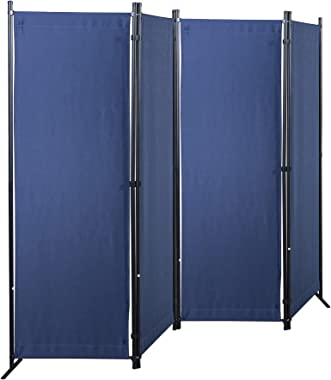 GOJOOASIS Room Dividers Folding Privacy Screens 4 Panel Partition (Blue)
