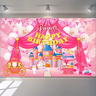 Princess Birthday Banner Princess Birthday Backdrop Pink Happy Birthday Banner Princess Birthday Party Decorations Photogr...