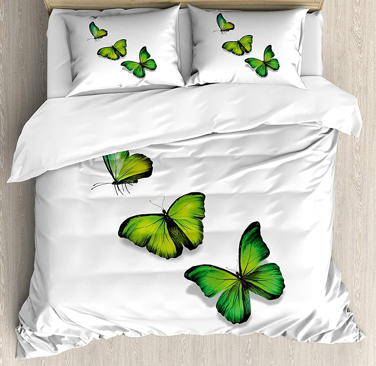 Green Duvet Cover Soft Microfiber 4 Piece Bedding Cover Set Three Vibrant Butterflies on White Backdrop Magical Spring Nature Lime Green Fern Green Black Print, Zipper Closure and Corner Ties