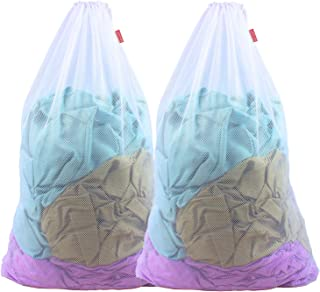 Meeall Mesh Laundry Bag Large Heavy Duty Mesh Wash Bag with Drawstring Closure for Factories, College, Dorm and Travel, 24 x 36 inches, 2 Pack, White