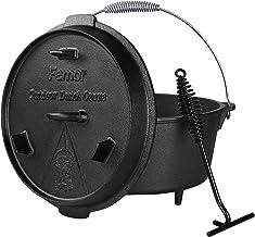 femor Outdoor Dutch Oven, 8 Liter, Gusseisen Kochtopf mit Füßen, bereits eingebrannt, Bräter mit Deckelheber, Spiralförmiger Henkel, und Schlitz für Themormeter, für BBQ, Kochen, Braten und Backen