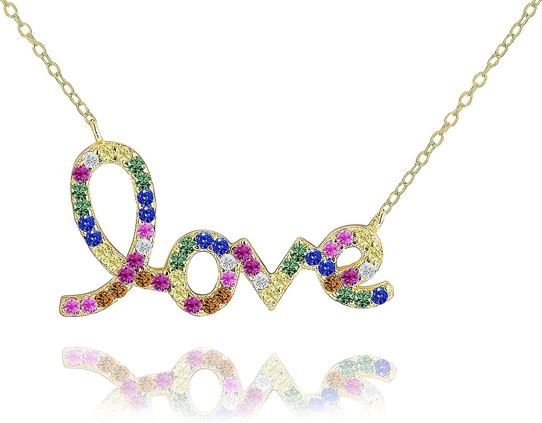 YaoX Love LGBT Rainbow Ink Heart Pendant Vintage Necklace Silver Key Jewelry
