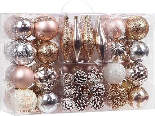 Sea Team 73 Pieces of Assorted Shatterproof Christmas Ball Ornaments Set Seasonal Decorative Hanging Ornament Set wit...