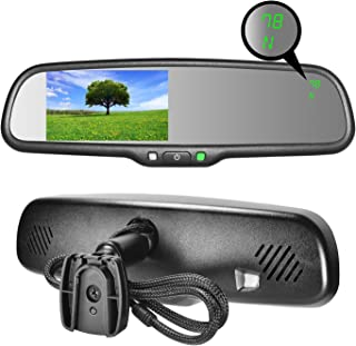 Master Tailgaters OEM Rear View Mirror with 4.3 Auto Adjusting Brightness LCD + Compass & Temperature - Universal Fit