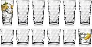 HE Modern Drinking Glasses Set, 12-Count Galaxy Glassware, Includes 6 Cooler Glasses(17oz) 6 DOF Glasses(14oz)12-piece Elegant Glassware Set