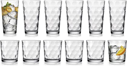 مجموعة نظارات شرب عصرية من HE، 12 قطعة من أدوات جالاكسي الزجاجية، تتضمن 6 أكواب تبريد (50 مل) 6 أكواب DOF (396.8 مل) مجموع...
