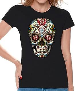 Awkwardstyles Women's Rose Eyes Skull T-Shirt Sugar Skull Dead Shirt + Bookmark