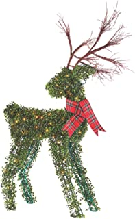 NOMA 4.4 Ft. Pre-Lit Light Up Topiary Winter Garden Reindeer | Outdoor Christmas Holiday Lawn Decoration