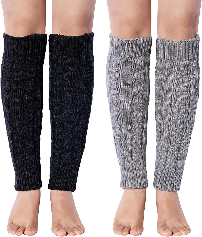 Loritta 2 Pairs Women Knit Leg Warmers Winter Warm Long Boot Socks