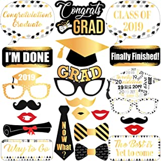Graduation Photo Booth Props Black and Gold - Graduation Decorations 2019 - Graduation Party Supplies 2019 | Graduation Party Decorations | Class of 2019 Graduation Photo Props Black and Gold | 23 ct.