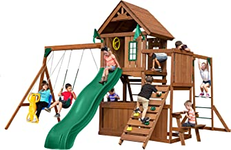 Swing-N-Slide WS 8352 Knightsbridge Ultimate Swing Set with Slide, Monkey Bars, Climbing Wall, Wood Roof, Picnic Table & Glider, Wood