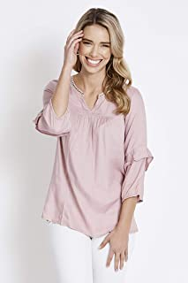 Rockmans 3/4 Sleeve Studded Blouse - Womens