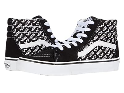 Vans Kids SK8-Hi (Little Kid) ((Logo Repeat) Black/True White) Kids Shoes