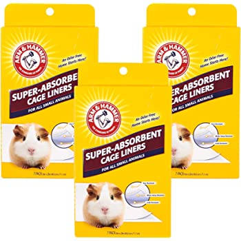 Arm & Hammer Super-Absorbent Cage Liners for Guinea Pigs, Hamsters, Rabbits & All Small Animals | Best Cage Liners for Small Animals, 7 Count x 3 Packs