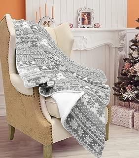 Catalonia Christmas Sherpa Throw Blanket,Super Soft Warm Fuzzy Comfy Lambswool Snowflake Blankets Reversible Plush Fleece Christmas Theme Throws 50