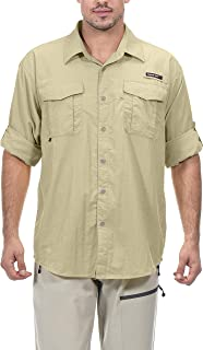Men's UPF 50+ UV Protection Shirt, Long Sleeve Fishing Shirt, Breathable and Fast Dry