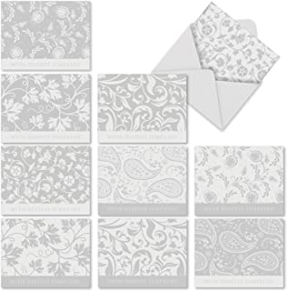 Condolence - 10 Beautiful Sympathy Note Cards with Envelopes (4 x 5.12 Inch) - Elegant FLoral Leaves and Flowers - Peace, Sorry Notecard Set M2342SRG