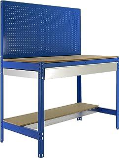 Banco de trabajo BT2 con cajón Simonwork Azul/Madera Simonrack 1445x1210x610 mms - Banco de trabajo con panel - mesa de bricolaje 600 Kgs de capacidad por estante