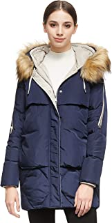 Sponsored Ad - Orolay Women's Thickened Mid-Length Down Jacket with Removable Fur Hood Large Pockets