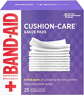 Band-Aid Brand Cushion Care Non-Stick Gauze Pads, Individually-Wrapped, Small, 2 in x 2 in, 25 ct Pack of 3