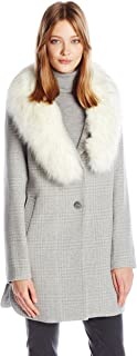 T Tahari Women's Olivia Fitted Plaid Wool Coat