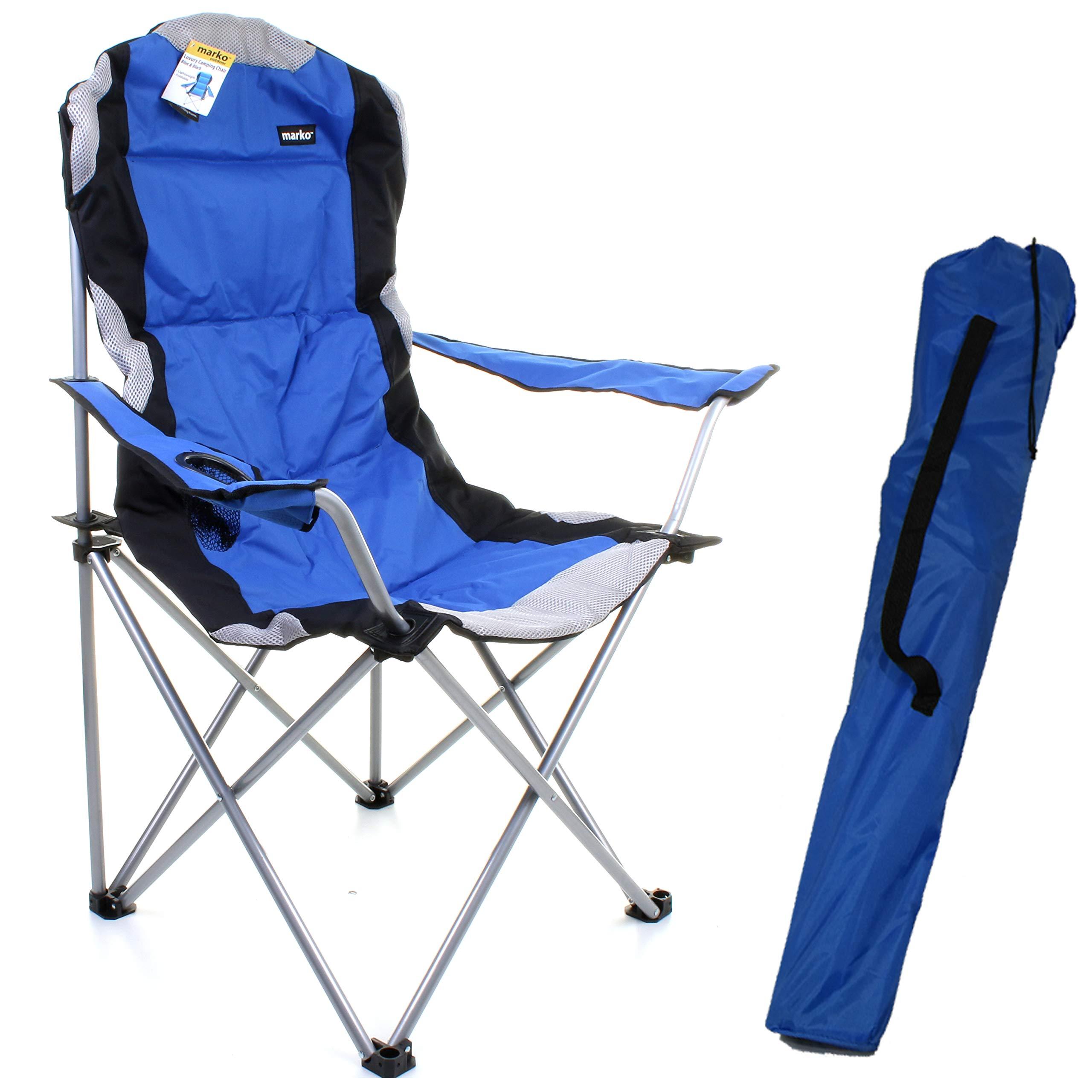 Marko Outdoor Blue Padded Folding Camping Chairs Fishing Festivals Garden SUMMER