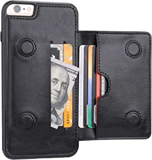 iPhone 6 Plus iPhone 6S Plus Wallet Case with Credit Card Holder, KIHUWEY Premium Leather Kickstand Durable Shockproof Protective Cover for iPhone 6/6S Plus 5.5 Inch(Black)