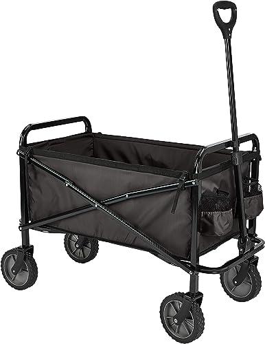 Amazon Basics Collection d'outils de jardin - Chariot d'extérieur pliable pour jardinage avec housse protectrice, Noir
