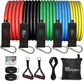 Polygon Resistance Bands Set, Exercise Tubes with Handles, Door Anchor and Ankle Straps - Stackable Up to 150 lbs - Workou...