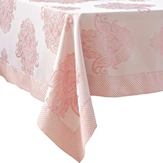 Pink Easter Tablecloth Rose Paisley Pattern Polyester Table Cover - Kitchen Dinning Room - Stain Resistant Non Iron Great for Thanksgiving or Christmas Dinner New Year (ROSE, Square 54