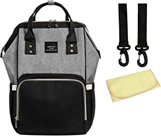 House of Quirk Baby Diaper Bag Maternity Backpack with Stroller Hooks + Attached Pouch (Black/Grey)
