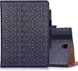WWW Samsung Galaxy Tab S4 10.5 SM-T830/SM-T835 Tablet Case,[Luxury Laser Flower] Premium PU Leather Case Protective Cover with Auto Wake/Sleep Feature for Galaxy Tab S4 10.5 SM-T830/SM-T835 Navy Blue