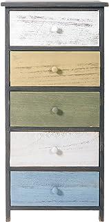 Rebecca Mobili Cómoda vintage mueble de 5 cajones para cuarto de baño madera de paulonia gris blanco beige azul blanco...