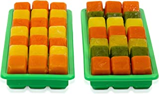 Set of 2 Silicone Ice Cube Trays With Lids, Makes 21 Ice Cube Each, Pair of Silicone Molds For Making Ice Cubes, Food Grade Silicone, BPA Free Ice Trays – Color Green