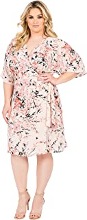 Standards & Practices Plus Size Modern Womens Pink Floral Kimono Wrap Midi Dress