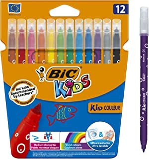 BIC Kids Kid Couleur Feutres de Coloriage à Pointe Moyenne - Couleurs Assorties, Etui Carton de 10+2