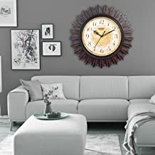 EFINITO Plastic Silent Movement Wall Clock (Brown)