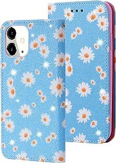 Funda para iPhone 12 Mini, funda de piel con purpurina y tarjetero, función atril, 360 grados, resistente a los golpes, di...