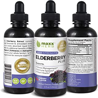 Maxx Herb Elderberry Liquid Extract Plus, (4 Oz Bottle with Dropper) with Zinc, Vitamin C, Echinacea & Astragalus, Immune ...