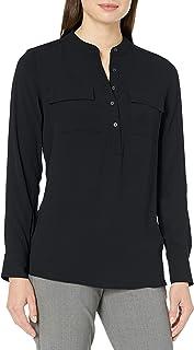 Marca Amazon - Lark & Ro Long Sleeve Sheer Utility Woven Tunic Top With Band Collar - tunic-shirts Mujer